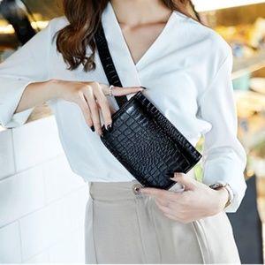 Handbags - Black Animal Print Waist Bag